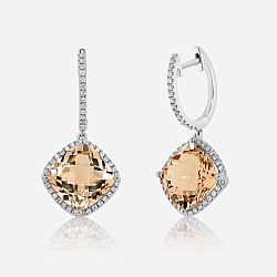 Gold diamonds and morganite earrings