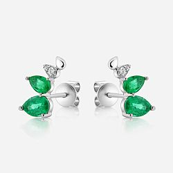 Diamonds and emeralds gold earrings