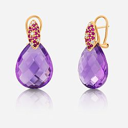 Diamond, saphhire and amethyst earrings