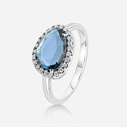 Diamond ring with topaz