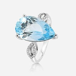 Diamond and topaz ring