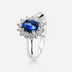 Diamond ring with sapphire