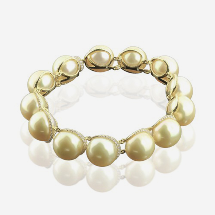 Diamond Bracelets Diamond and pearl bracelet Yellow Natural pearls <br/>Diamond