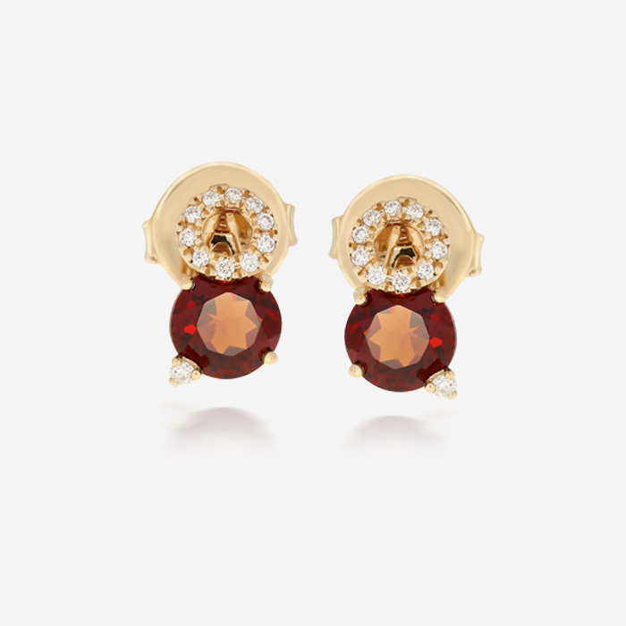 Diamond Earrings Diamond and garnet earrings Rose Garnet <br/>Diamond
