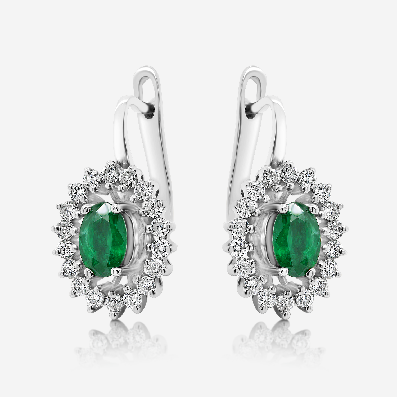 Diamond Earrings Diamonds and emeralds gold earrings White