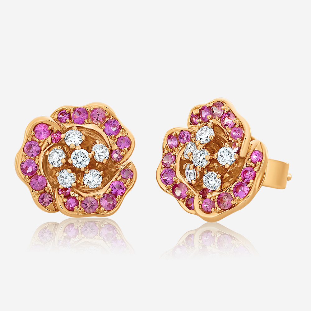 Diamond Earrings Diamond and sapphire earrings Rose Sapphire <br/>Diamond