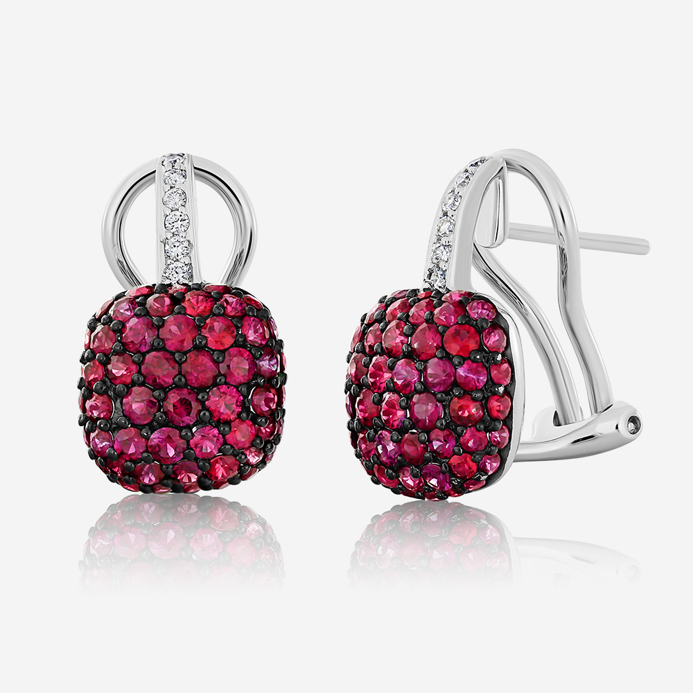 Diamond Earrings Diamond and ruby earrings White Diamond <br/>Ruby