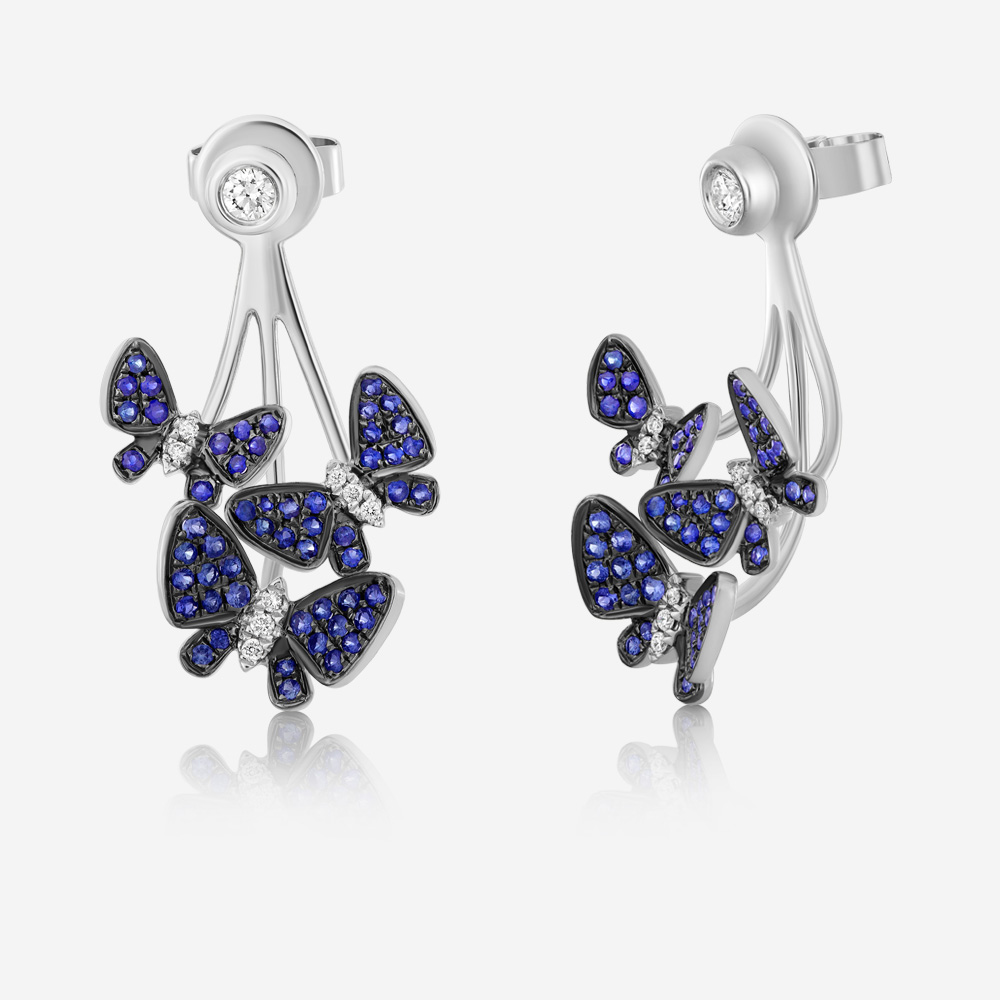 Diamond Earrings Diamond and saphhire earrings White Diamond <br/>Sapphire