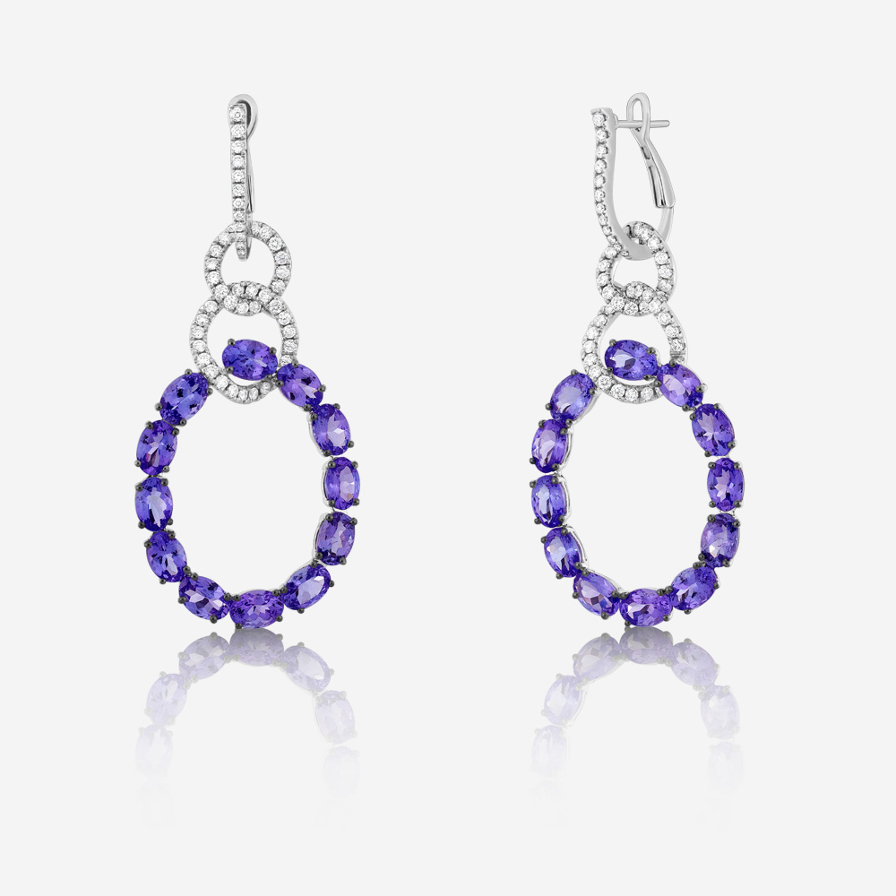 Diamond Earrings Diamond and tanzanite earrings White Tanzanite <br/>Diamond