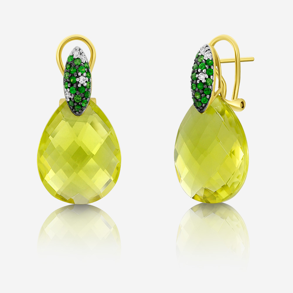 Diamond Earrings Diamond earrings Yellow Garnet <br/>Quartz <br/>Diamond