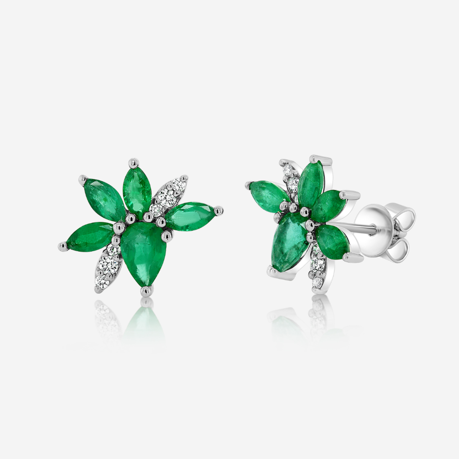 Diamond Earrings Diamonds and emeralds gold earrings White Emerald <br/>Diamonds