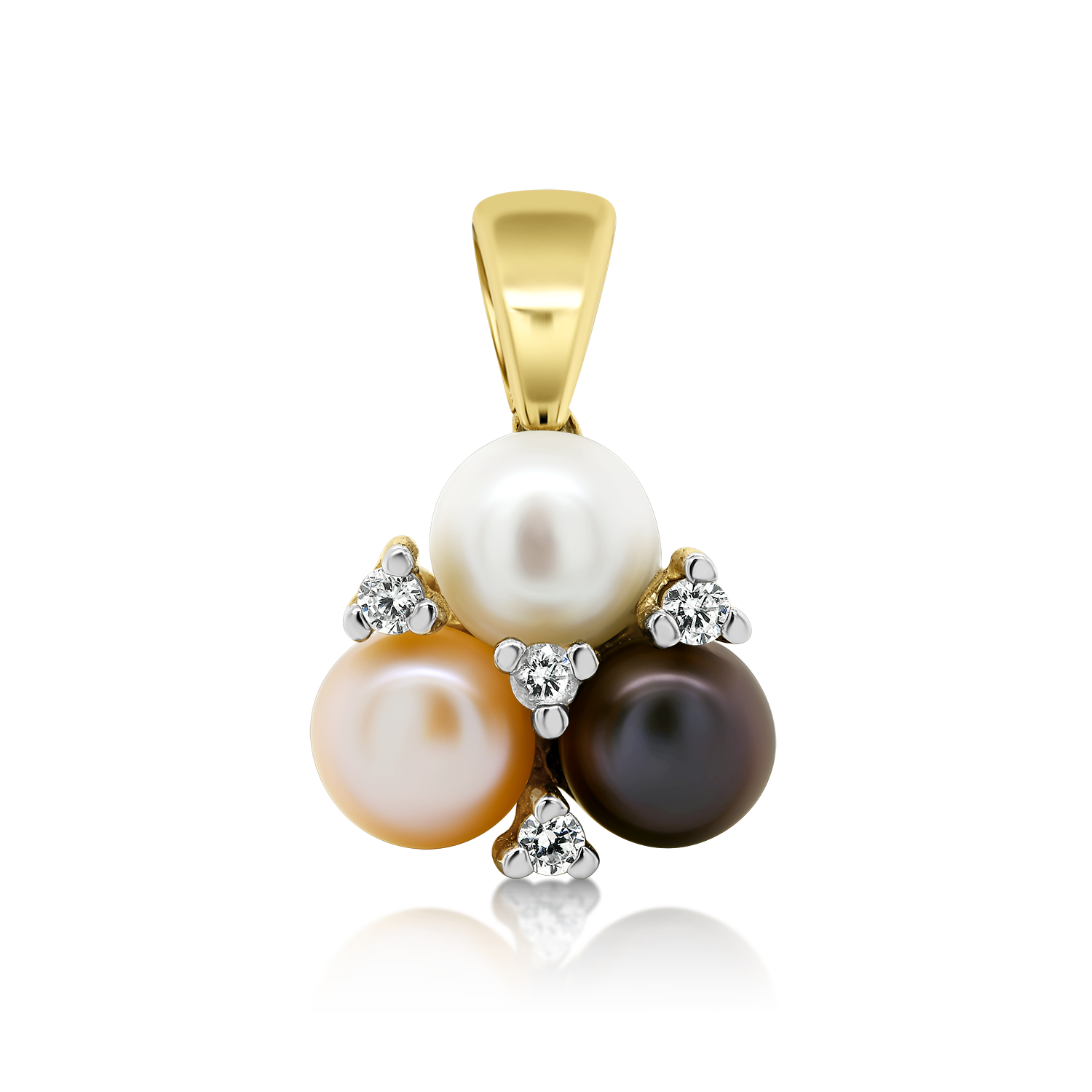 Exquisite Pearls Gold pendant with pearl Yellow Zirconia