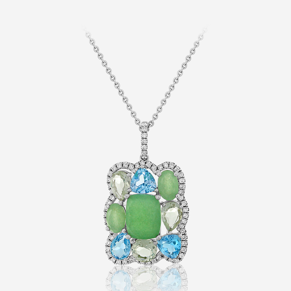 Diamond Necklaces Diamond necklace White Aventurine <br/>Diamond <br/>Topaz <br/>Amethyst
