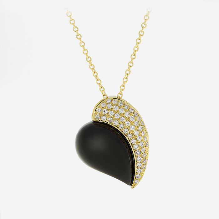 Diamond Necklaces Diamond and onyx necklace Yellow Onyx <br/>Diamond