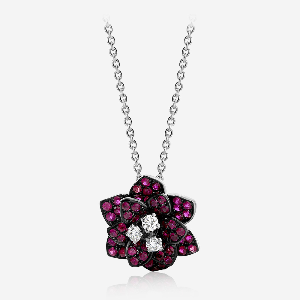 Diamond Necklaces Diamond and ruby necklace White Diamond <br/>Ruby