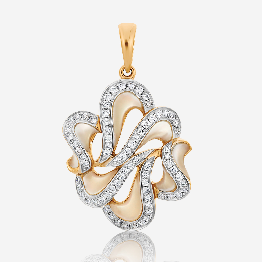 Diamond and mother of pearl pendant
