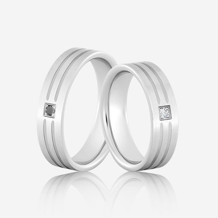 Wedding rings Elegante 614 White White Diamond <br/>Black Diamond