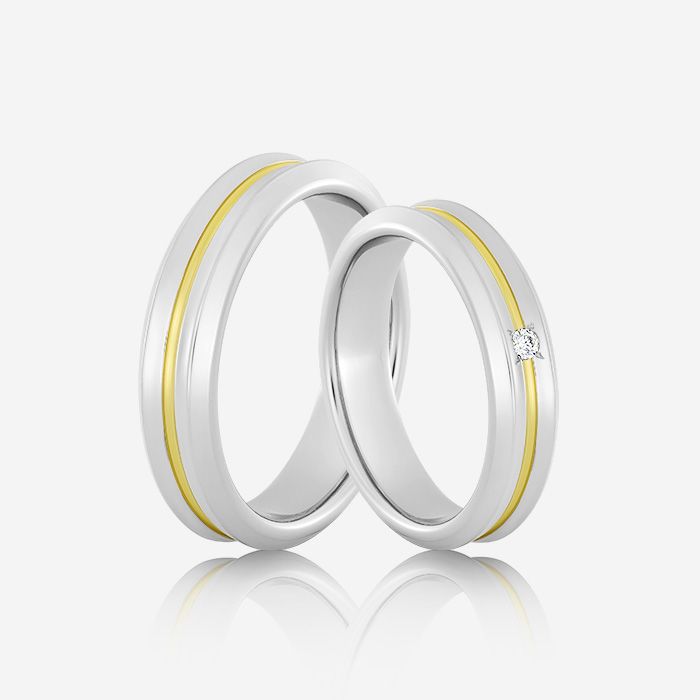 Wedding rings Euforia 103 White & Yellow Diamond