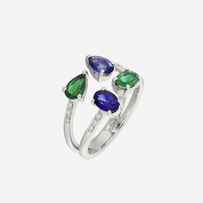 Diamond Rings Diamond, emerald and sapphire ring White Diamond <br/>Emerald <br/>Sapphire