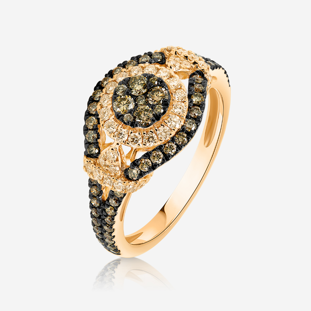 Diamond Rings Diamonds gold ring Rose White Diamond <br/>Brown Diamond