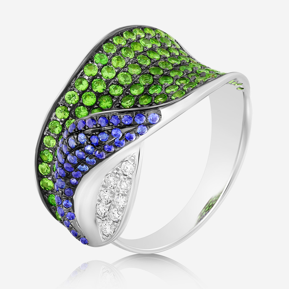 Diamond Rings Diamond and sapphire ring White Tsavorite <br/>Diamond <br/>Sapphire