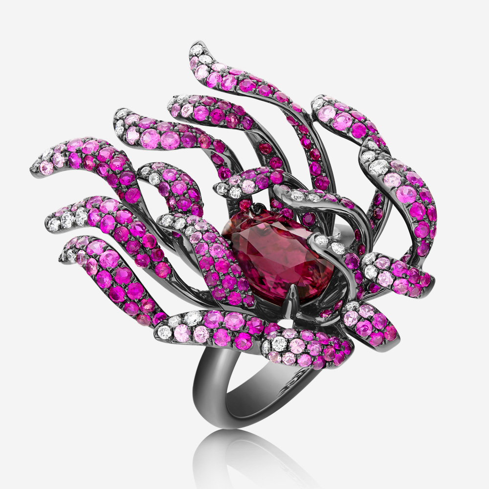 Diamond Rings Diamond, tourmaline and sapphire ring White Sapphire <br/>Diamond <br/>Tourmaline