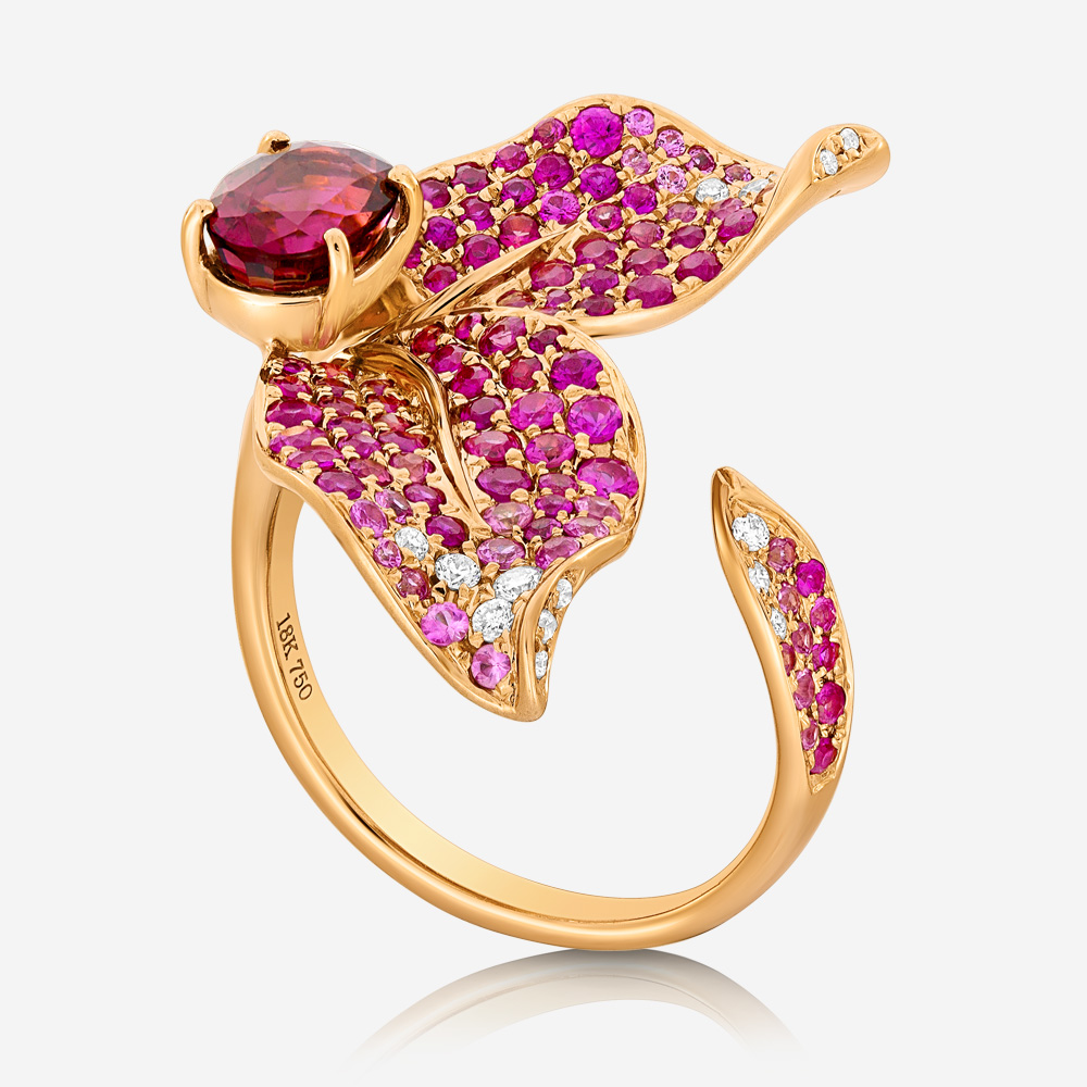 Diamond Rings Diamond, tourmaline and sapphire ring Rose Tourmaline <br/>Sapphire <br/>Diamond