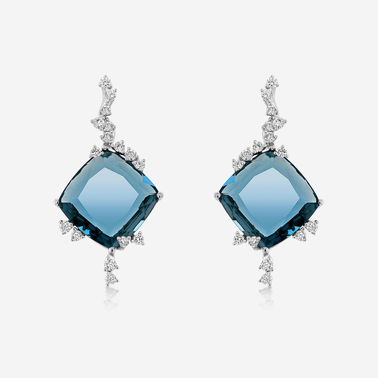 Cercei Diamante Cercei cu diamante si blue topaz Alb Diamonds <br/>London Blue Topaz