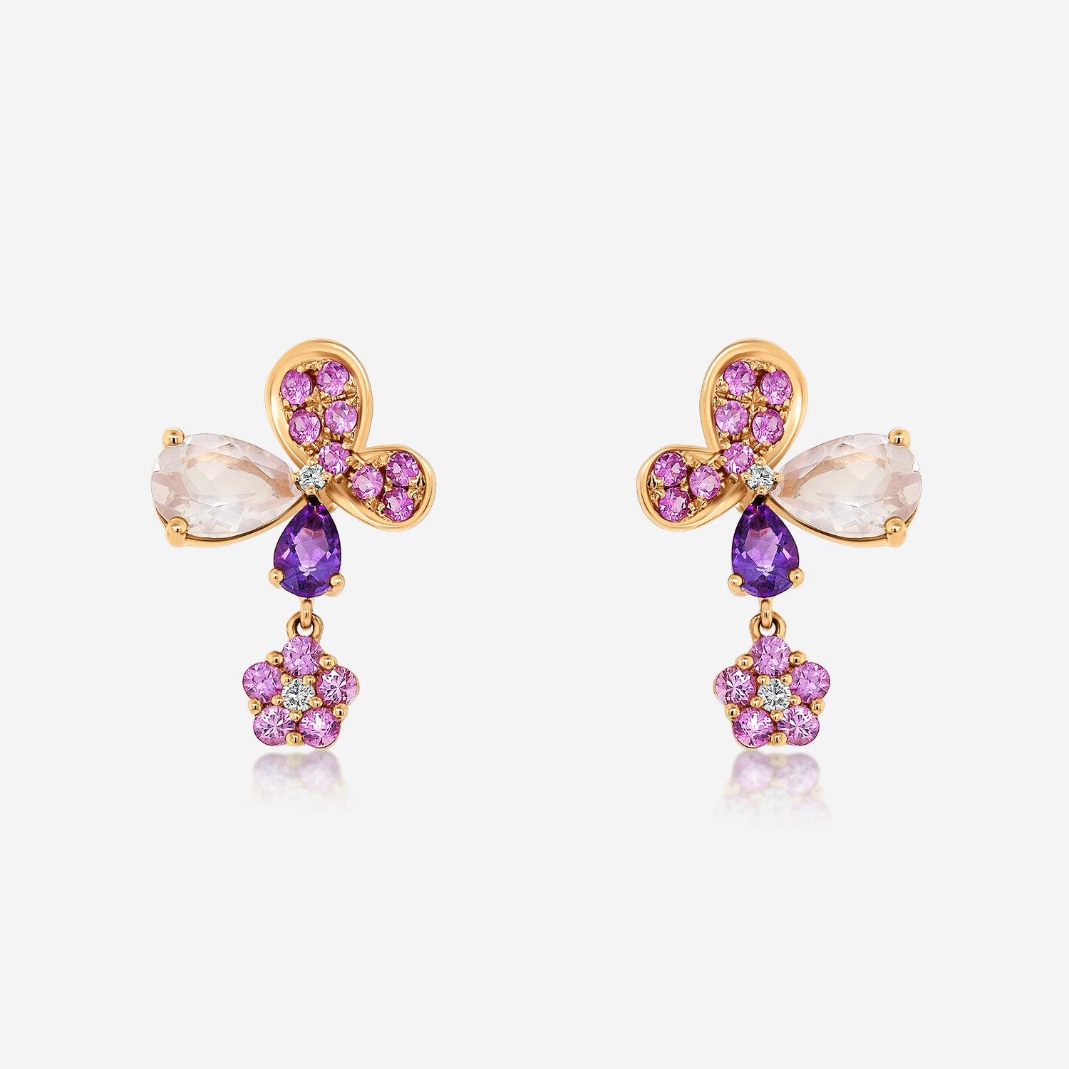 Diamond Earrings Diamond earrings with sapphire, amethyst and quartz Yellow Pink sapphire <br/>Amethyst <br/>Pink Quartz <br/>White Diamonds