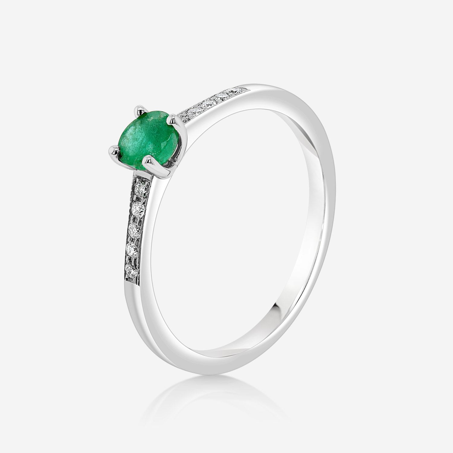 Engagement rings Diamond and emerald ring White Diamonds and emerald