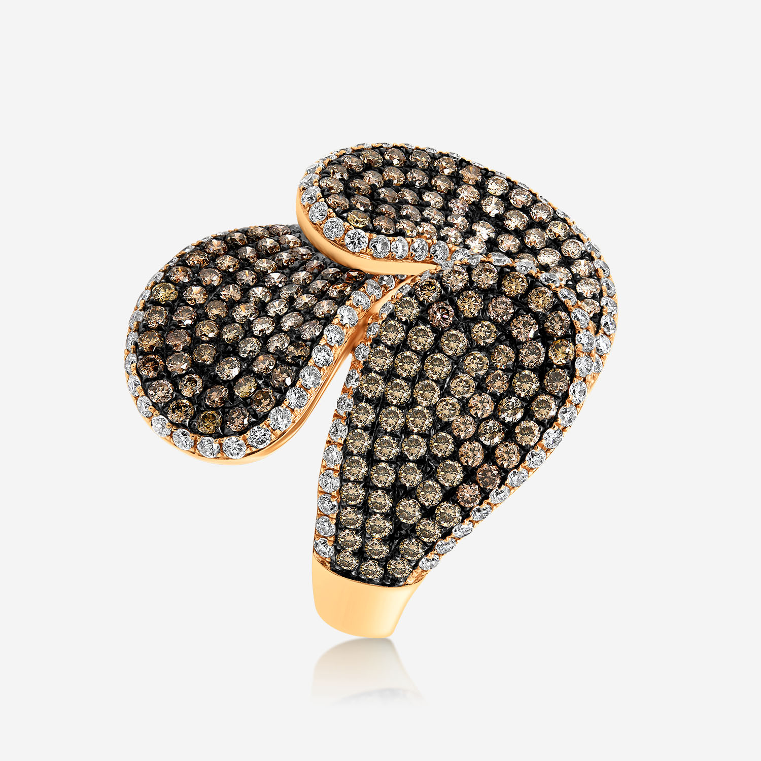Diamond Rings Gold ring with white and brown diamonds Pink Brown Diamond <br/>White Diamonds